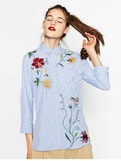 Camisa Feminina Listrada Bordada - Compre Online | DMS Boutique