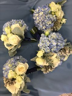 Hydrangea and rose bouquets for a Hampton Lakes wedding by Make it Pretty floral design in Bluffton, SC. Makeitprettuweddings.com