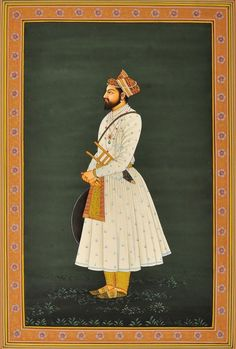 Shah Jahan, Mughal Miniature Painting On Paper Artist: Kailash Raj Mughal Miniature Paintings, Mughal Paintings, Islamic Paintings, Miniature Portraits, Indian Art Paintings, Portrait Paintings, Diy Painting, Watercolor Paintings, Watercolour