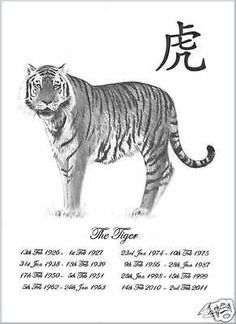 Animal Years, Year Of The Tiger, Anniversary Present, Christening Gifts, Chinese New Year, Pencil Drawings, Poster Prints, Tattoo, Cats