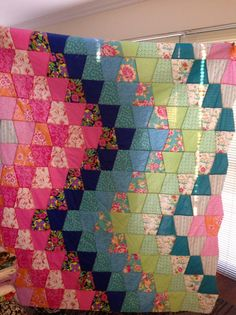 Made using 6 AccuQuilt tumbler die, Jenny Eliza II Bargello Quilts, Scrappy Quilts, Easy Quilts, Vintage Quilts Patterns, Patchwork Quilt Patterns, Tumbling Blocks Quilt, Quilt Blocks, Quilting Projects, Quilting Designs
