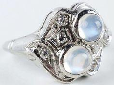 Platinum Ring w/ Moonstone Cabochons & Diamonds. : Lot 440 circa 1910.