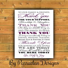 Thank You Wedding Sign Anniversary Reception FREE SHIPPING on Etsy, $12.00