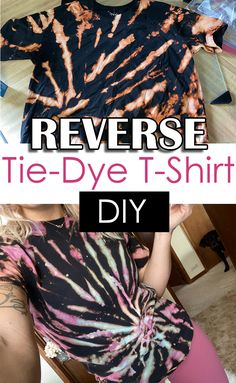 How to reverse tie-dye a t-shirt with bleach tie dye shirts patterns Tye Dye Bleach, Bleach Dye Shirts, Diy Tie Dye Shirts, T Shirts, Diy Shirt, Bleach Pen, Diy Tank, Tie Dye With Bleach, Vinyl Shirts