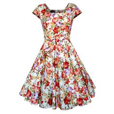 Lady Mayra Anna Summer Roses Floral Flower Dress Vintage Rockabilly Clothing Pin Up 1950s Swing Prom Wedding Bridesmaid Plus Size Tea Party