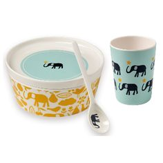 Atomic Soda Bandjo Bowl, Plate, Cup & Spoon Set Elephant: Set of melamine bowl, plate cup and spoon with a cute elephant design. The highlight is that the plate covers the bowl perfectly - this is for freshness and to store it easily. Gift boxed.