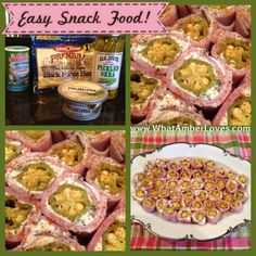Ham coated in cream cheese spread is wrapped around a pickled okra! Slice about one inch thick, sprinkle with seasoning, and serve. Easy, easy!
