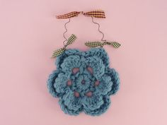 FLOWER WALL DECOR Country Blue Crocheted by CraftCreationsEtsy, $5.95