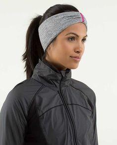 Run With Me Ear Warmer - mini check pique heathered black white