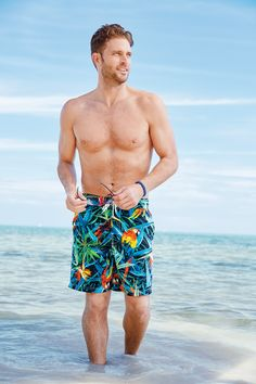 Mens Caribbean Joe® Fashion Printed Trunks - Create a great look for the beach or pool with this printed trunk! Crafted with a polyester mesh-lined brief and tropical look, this sleek, comfortable style is a must-have for your collection.
