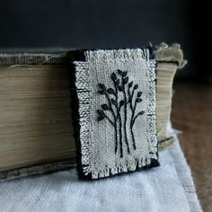Textile Art Brooch Black Embroidered Trees on Natural by Sidereal