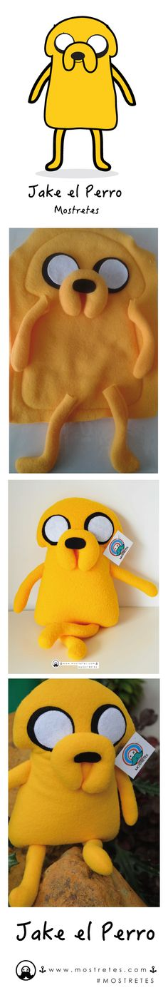 Jake el perro Mostretes, hora de aventura ¡¡Creamos el personaje que desees!!. Plush Peluches Ecológicos¡¡ Tamaño: 39cm x 22cm