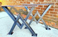 Diamond Dining Table Legs, Industrial Legs, Sturdy Heavy Duty Set of 2 Steel…