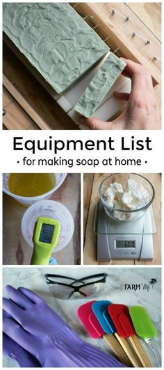 Find out what essential equipment you need to begin making handmade soap at home Handmade Soap Recipes, Soap Making Recipes, Handmade Soaps, Diy Soaps, Hand Soaps, Handmade Headbands, Handmade Products, Handmade Pottery, Handmade Rugs