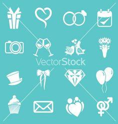 Wedding icons3 resize vector - by brankica on VectorStock®