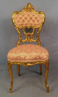 Gold leaf laminated Victorian harp chair