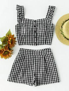 Ruffle Strap Checkered Pinafore Top And Shorts Set
