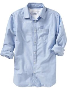 basic men's chambray.... cute with jeans, High boots, High socks and a brown belt, ooo and maybe a scarf