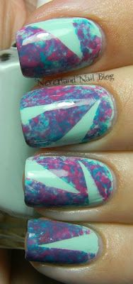 Plastic Wrap Sponging and Tape Mani