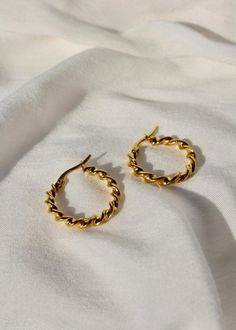 Crystal Anniversary Jewelry for Wife, Orange Crystal Earrings, Unique Gemstone and Sterling Jewelry - Fine Jewelry Ideas - Swirl Hoops Material Gold plated steel Dimensions Length: Width: Designer View all by B - Crystal Jewelry, Crystal Earrings, Gold Earrings, Gold Bracelets, Small Gold Hoop Earrings, Small Gold Hoops, Nickel Free Earrings, Ear Earrings, Cute Jewelry