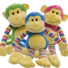 Bright, colourful monkeys make a great addition to baby hampers.