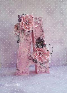 Ammaris Art: Dla Alicji / For Alice Cardboard Letters, Diy Letters, Letter A Crafts, Wood Letters, Letters In Frames, Decorative Wooden Letters, Alphabet Wallpaper, Diy Monogram, Home And Deco