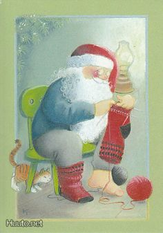 """From the """"Moonlighting"""" series of Christmas cards -- by Kaarina Toivanen, Finnish Very Merry Christmas, Father Christmas, Christmas Music, Christmas Time, Christmas Crafts, Art Du Fil, Creation Photo, Images Vintage, Knit Art"""