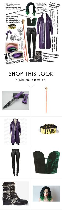 """gender swapped joker (jared leto) +quotes"" by xkitten-pokerx ❤ liked on Polyvore featuring NYX, T By Alexander Wang, Topshop, Jeffrey Campbell, Prada and Black Pearl"