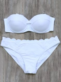 SHARE & Get it FREE | Bandeau Scalloped Bikini Set - White MFor Fashion Lovers only:80,000+ Items • New Arrivals Daily Join Zaful: Get YOUR $50 NOW!