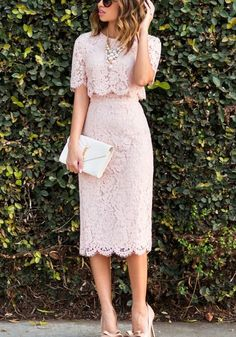 Pink Plain Lace 2-in-1 Round Neck Elbow Sleeve Maxi Dress