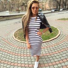 Summer dress women 2016Sheath dresses Striped Dress Short  Sleeve plus size women clothing  dresses Mid-Calf(China (Mainland))