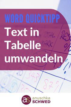 WORD-Quicktipp: Text in Tabelle umwandeln The Words, It Wissen, One Note, Office Hacks, Acevedo, Mini Office, Pb Teen, Microsoft Excel, Get Excited