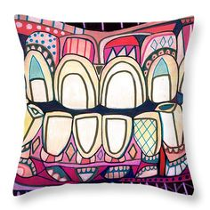Tooth Art Pillow Modern Abstract Folk Art by Heather Galler Dental Medical Science Teeth Anatomy (HG867)