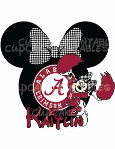 Minnie Alabama Football  Personalized Digital File Print at Home Mouse Classic DIY Bday Mickey jpeg DisneyCrimson Tide Houndstooth Celebrate...