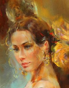 *Yellow Rose* (detail) ~ by Anna Razumovskaya ♥ Anna Razumovskaya, Portraits, Art Themes, Art Studies, Yellow Roses, Beautiful Artwork, Female Art, Painting & Drawing, Amazing Art