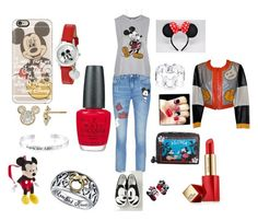 """Mickey Mouse lunch date"" by rabaudlisa on Polyvore featuring MO&Co., Casetify, Chiara Ferragni, Disney, Topshop, Moschino, Estée Lauder, OPI and LeSportsac"