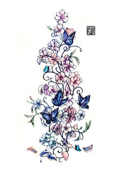 Flowers and butterflies, half-sleeve/ shoulder tattoo.. Could do something like this to blend my bird and butterfly together better...