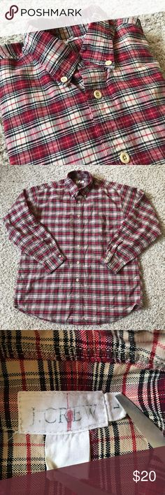 """Vintage J Crew mens'a plaid button down, large Vintage red plaid button down men's shirt from J.Crew. Size large, please see measurements below. The shirt features a J.Crew label from the early 1990s. 100% cotton. Gently worn with light signs of normal wash and wear, no stains, holes, or other major flaws. Chest (armpit to armpit): 25.5"""" Length: 32"""" Sleeve length (shoulder seam to wrist): 24.5"""" J. Crew Shirts Casual Button Down Shirts"""
