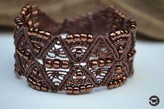 Shimmering Bronze Micro Macrame Cuff Bracelet