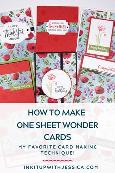 card making tutorials for beginners Learn how to make one sheet wonder cards (my FAVORITE technique!) in this quick and easy card making tutorial! Card Making Ideas For Beginners, Card Making Tips, Card Making Tutorials, Card Making Techniques, Card Making Inspiration, Poppy Cards, One Sheet Wonder, Birthday Cards, Teen Birthday