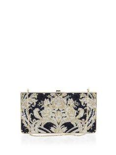 JUDITH LEIBER Swarovski Crystal Damask Clutch. #judithleiber #bags #leather #clutch #metallic #shoulder bags #crystal #lining #hand bags #