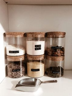 Love organising stuff, especially using jars and my fave dymo label maker. Love organising stuff, especially using jars and my fave dymo label maker. Kitchen Organization Pantry, Home Organisation, Kitchen Pantry, Kitchen Decor, Organized Pantry, Pantry Storage, Organised Home, Organized Bedroom, Kitchen Jars