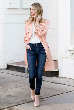 fall / winter - spring / summer - street style - street chic style - fall fashion - spring fashion - fall outfits - spring outfits - casual outfits - light pink trench coat, white lace front top, skinny jeans, nude pointy toe heels