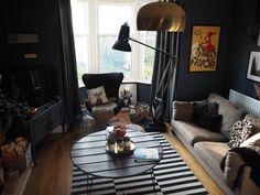 Dark interiors, Farrow and Ball Stiffkey blue,  living room curtains, dark paint, IKEA rug