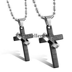 Damen Herren Kreuz Bibel Text Partner Anhänger mit einem Ring Edelstahl kette