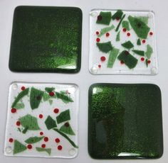 Christmas Holly Fused Glass Coasters set of 4 by SugarLipsGlass, $38.00