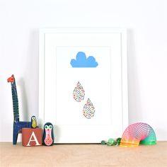 Rainbow Rain print by Ingrid Petrie Design, available at ingridpetriedesign.bigcartel.com