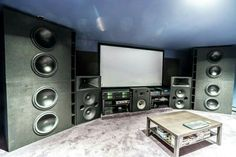 6 Components Of The Perfect Man Cave – audio room interior Home Theater Setup, Best Home Theater, Home Theater Speakers, Home Theater Rooms, Home Theater Design, Home Theater Seating, Home Interior Design, Room Interior, Built In Entertainment Center