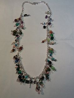 Bejeweled chain necklace by MyDragonflyJewlery on Etsy, $20.00