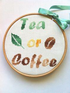 Tea or coffee - modèle de point de croix - Fichier PDF
